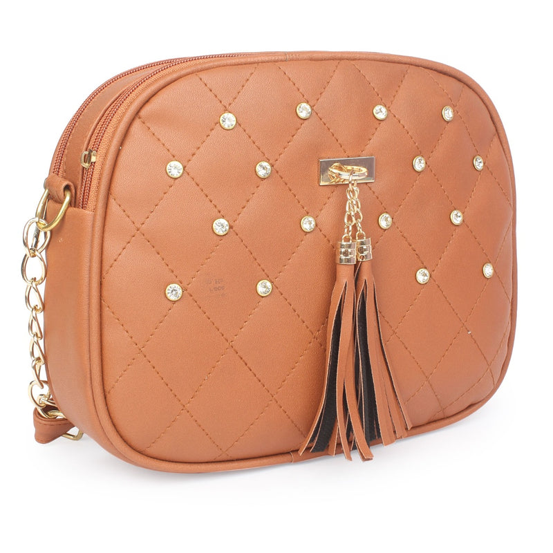 Women's Faux Synthetic Leather Sling Bag (Tan)