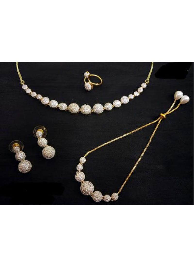 American Diamond, White Color Jewellery set for Women