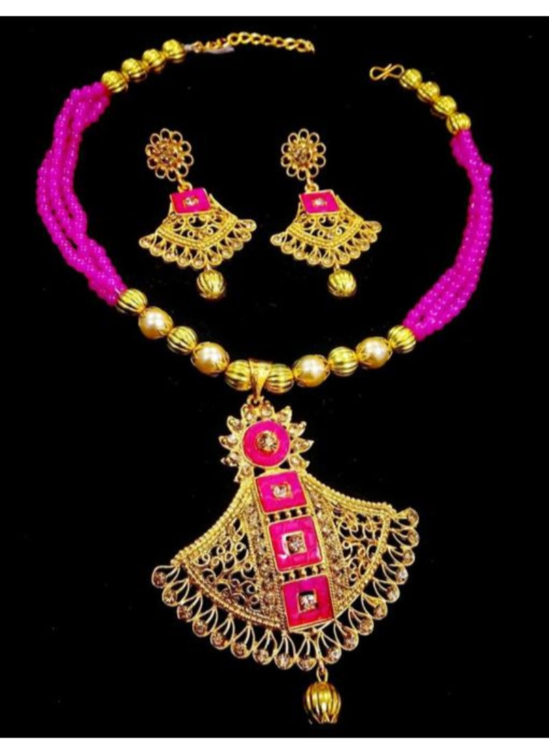 Pearl And Copper, Pink Color Jewellery set for Women