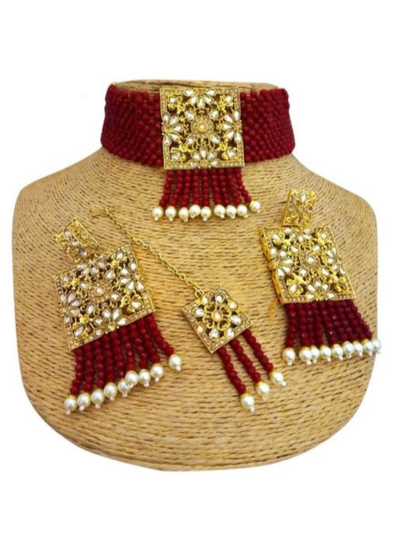 Pearl And Copper, Maroon Color Jewellery set for Women
