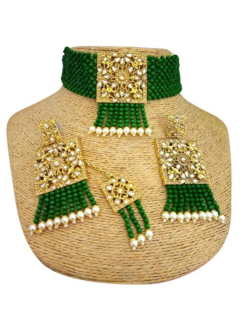 Pearl And Copper, Green Color Jewellery set for Women