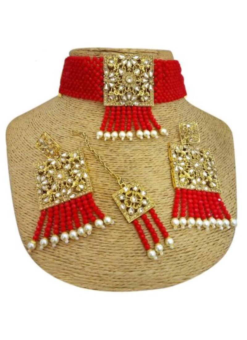 Pearl And Copper, Red Color Jewellery set for Women