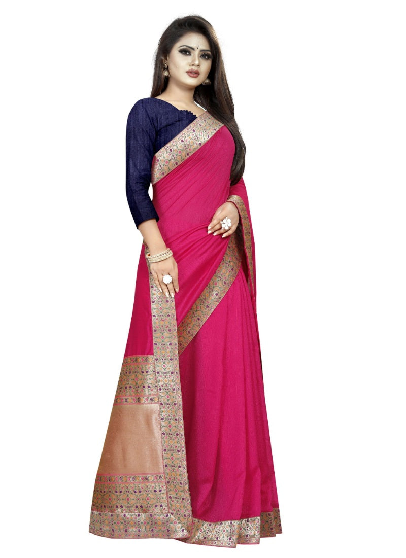 Generic Women's Vichitra Silk Saree with Blouse (Pink,5-6 mtrs)