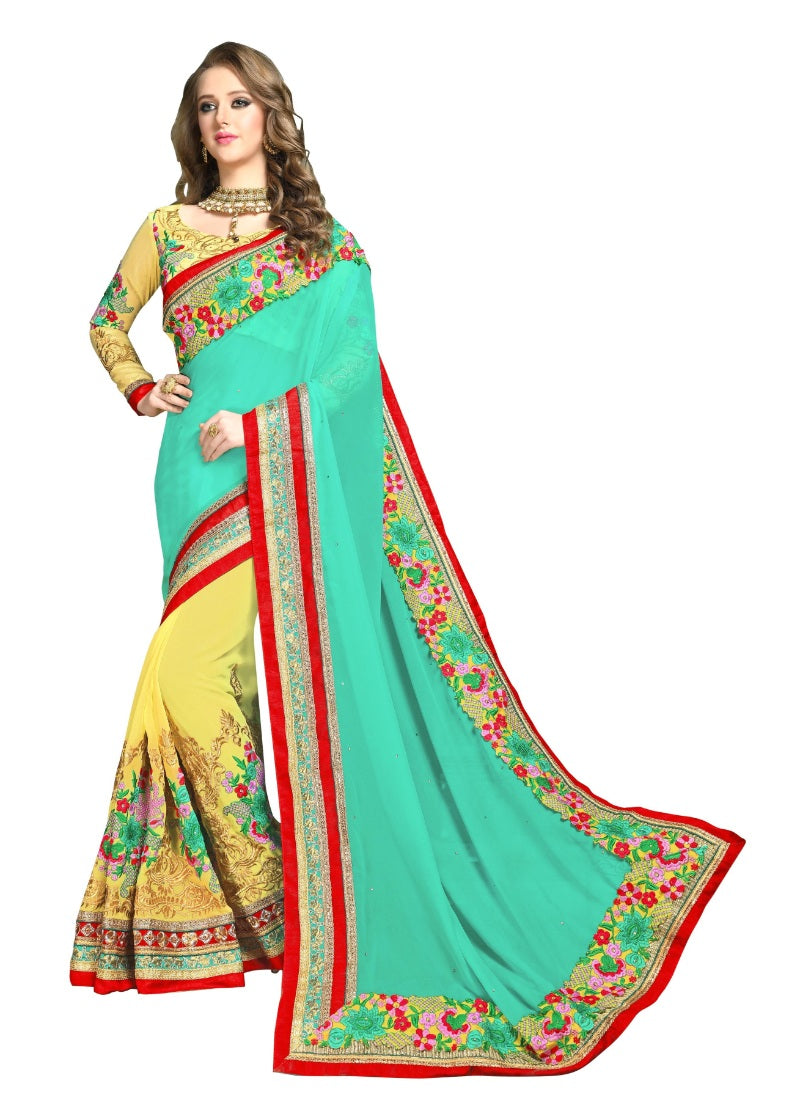 Generic Women's Georgette Saree with Blouse (Multi,5-6 mtrs)