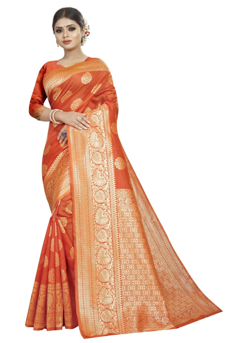 Generic Women's Kota Banarasi Silk Saree with Blouse (Orange,5-6 mtrs)