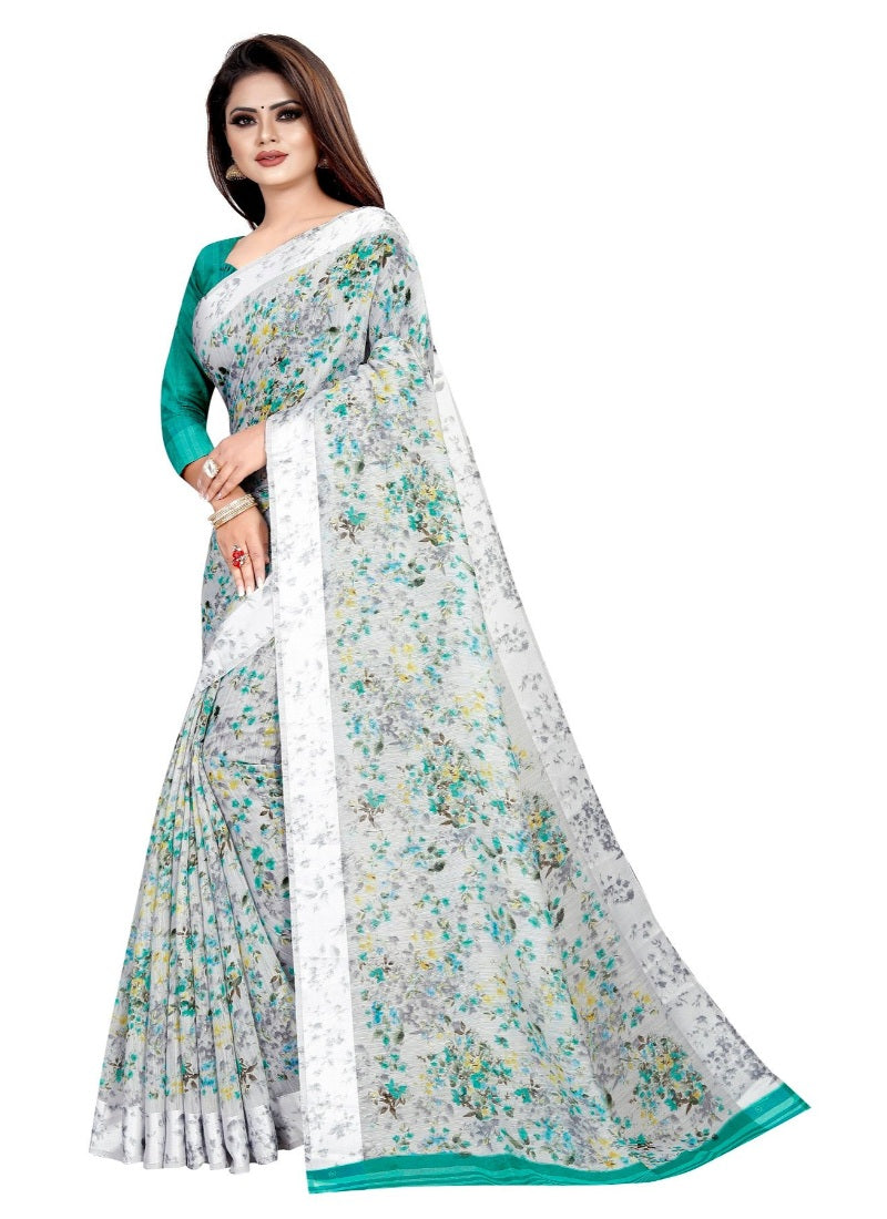 Generic Women's Linen Cotton Blend Saree with Blouse (Multi,5-6 mtrs)