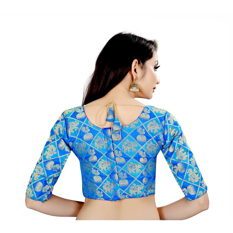Women's Brocade, Inner-Cotton Full Stitched Padded Blouse (Blue )