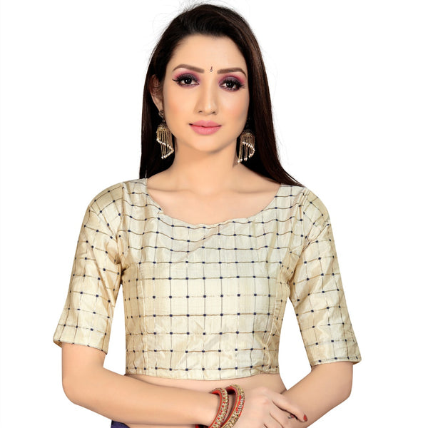 Women's Brocade, Inner-Cotton Full Stitched Padded Blouse (Chiku )