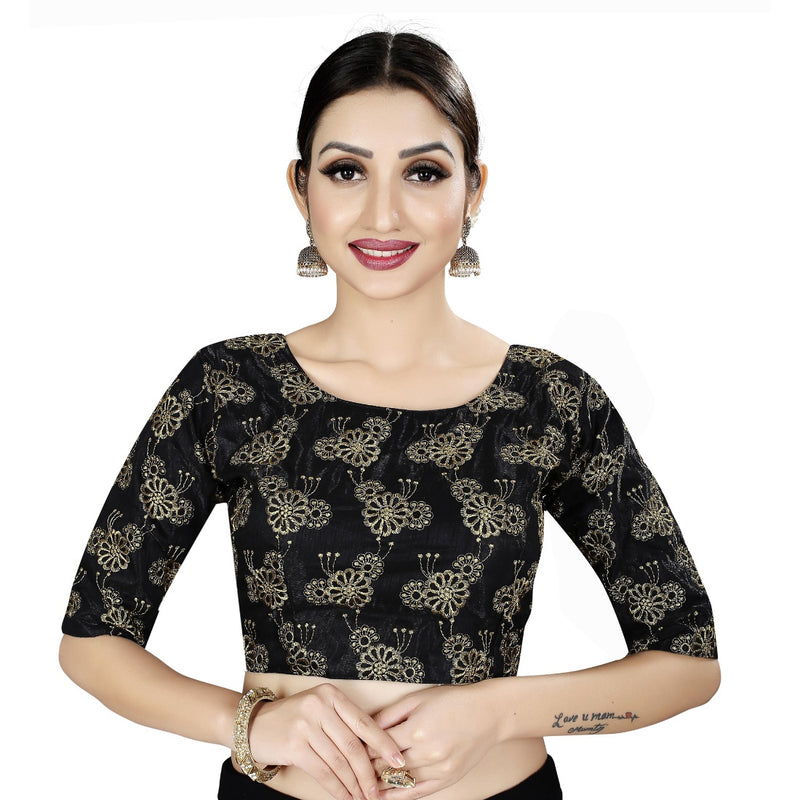 Women's Satin Silk, Inner-Cotton Full Stitched Padded Blouse (Black Gold)