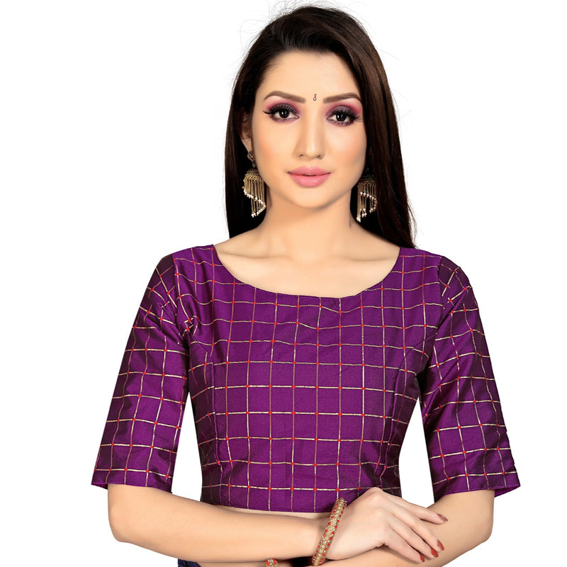 Women's Brocade, Inner-Cotton Full Stitched Padded Blouse (Purple )