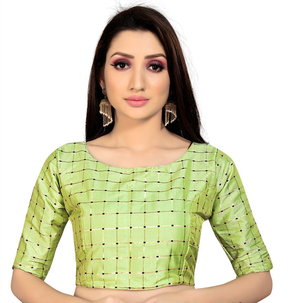 Women's Brocade, Inner-Cotton Full Stitched Padded Blouse (Pista )