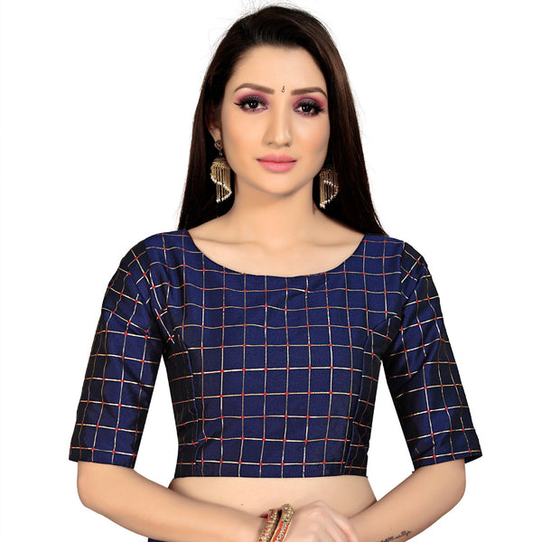 Women's Brocade, Inner-Cotton Full Stitched Padded Blouse (Navy Blue )