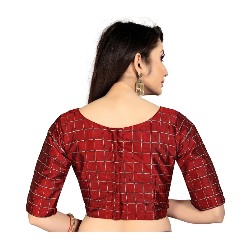 Women's Brocade, Inner-Cotton Full Stitched Padded Blouse (Marun )