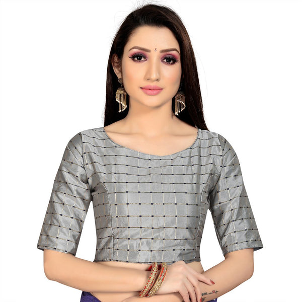 Women's Brocade, Inner-Cotton Full Stitched Padded Blouse (Light Gray )