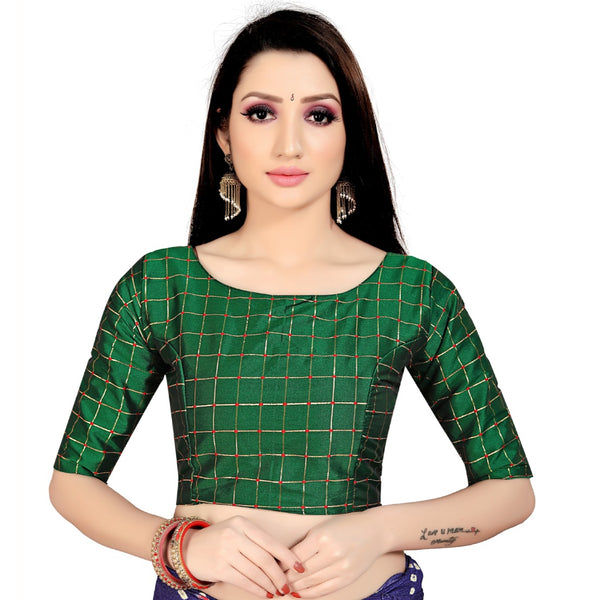 Women's Brocade, Inner-Cotton Full Stitched Padded Blouse (Green )