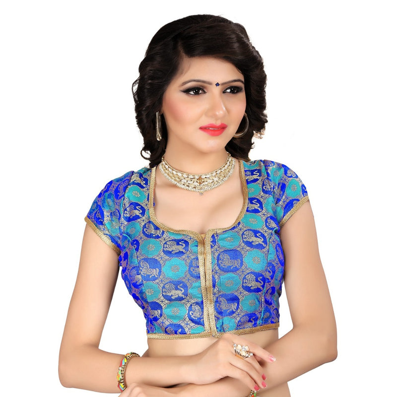 Women's Brocade, Inner-Cotton Full Stitched Padded Blouse (Blue)