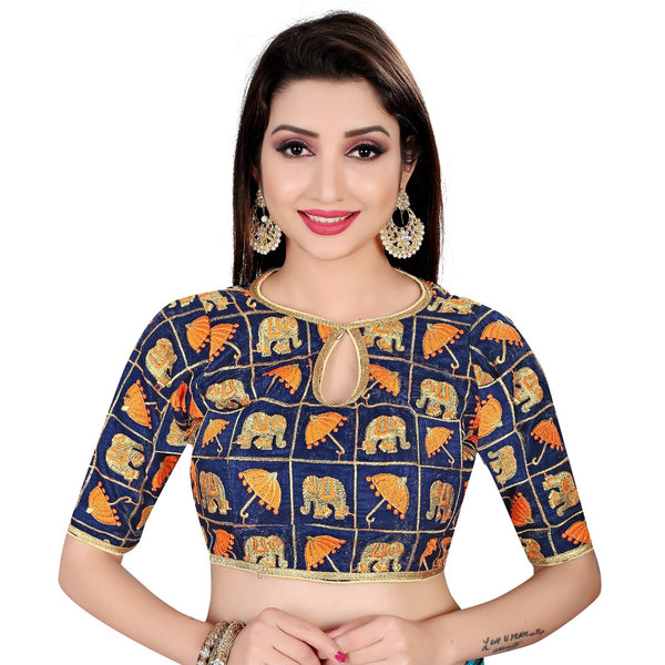 Women's Satin Silk, Inner-Cotton Full Stitched Padded Blouse (Blue Fenta)