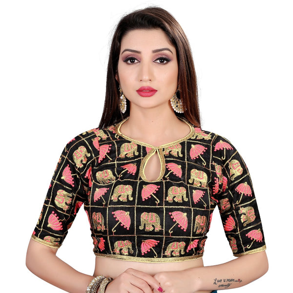 Women's Satin Silk, Inner-Cotton Full Stitched Padded Blouse (Black pink)