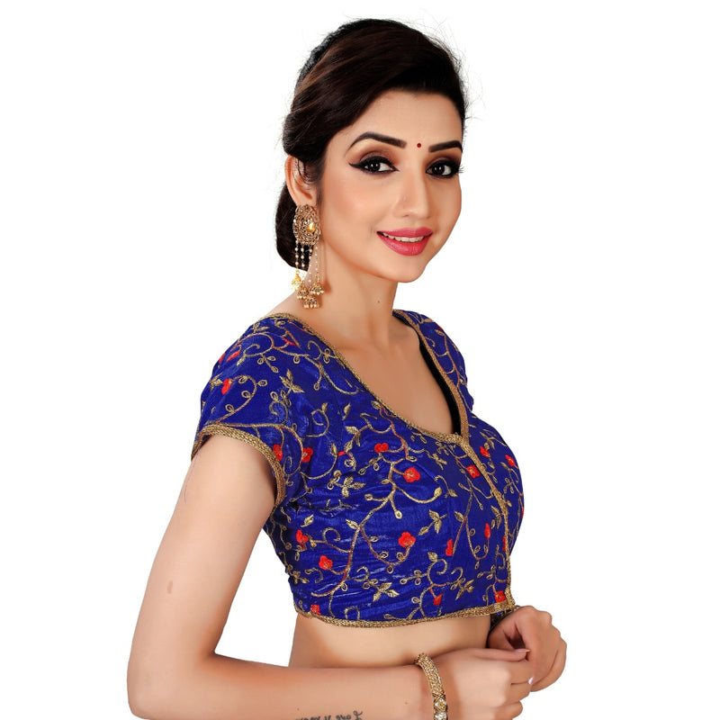 Women's Satin Silk, Inner-Cotton Full Stitched Padded Blouse (Blue)