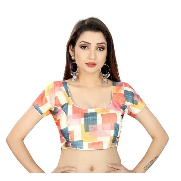 Women's Satin Silk, Inner-Cotton Full Stitched Padded Blouse (Choktha)