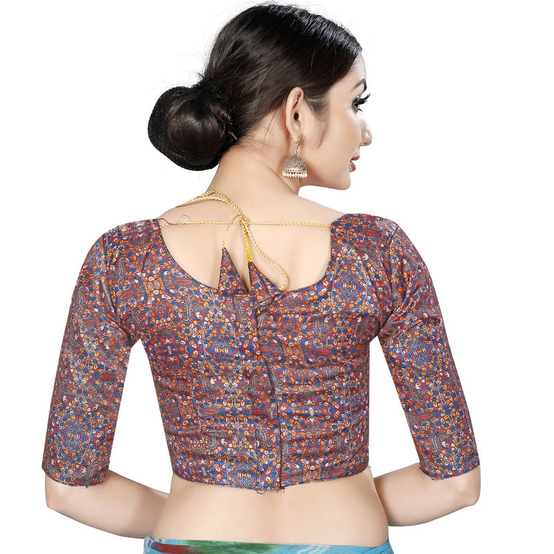 Women's Satin Silk, Inner-Cotton Full Stitched Padded Blouse (Marun Multi )