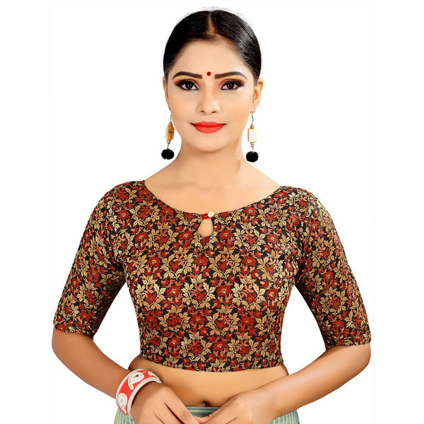 Women's Brocade, Inner-Cotton Full Stitched Padded Blouse (Black Red)