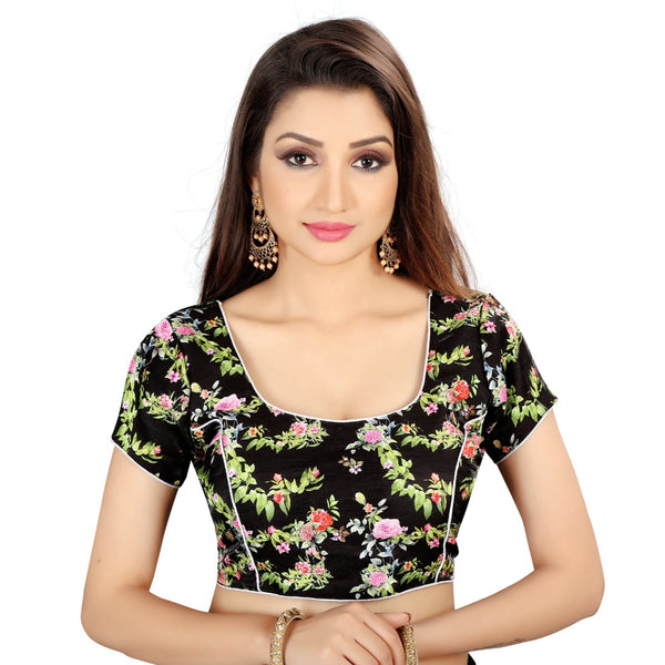 Women's Satin Silk, Inner-Cotton Full Stitched Padded Blouse (Black)