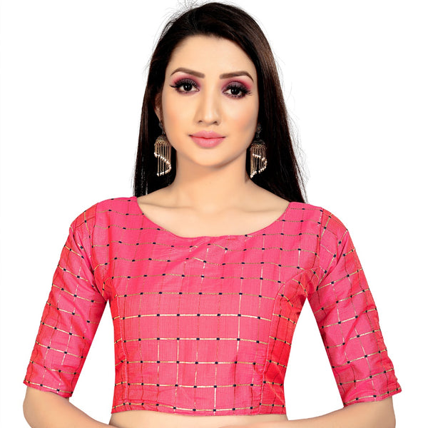 Women's Brocade, Inner-Cotton Full Stitched Padded Blouse (Gajri )