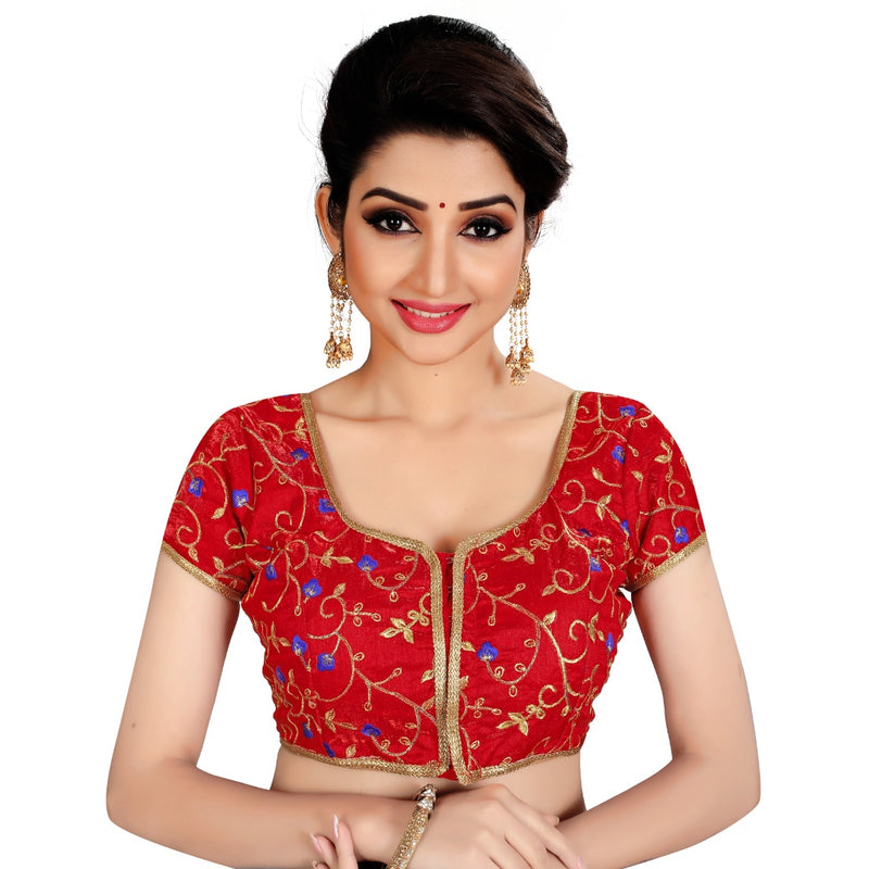 Women's Satin Silk, Inner-Cotton Full Stitched Padded Blouse (Red)