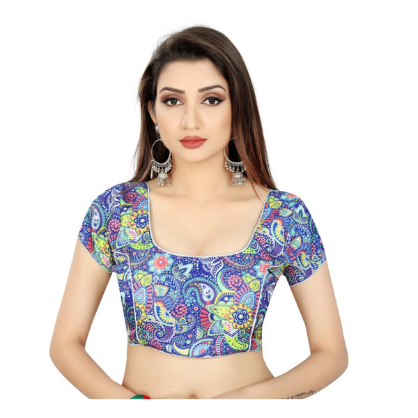 Women's Satin Silk, Inner-Cotton Full Stitched Padded Blouse (Blue multi)
