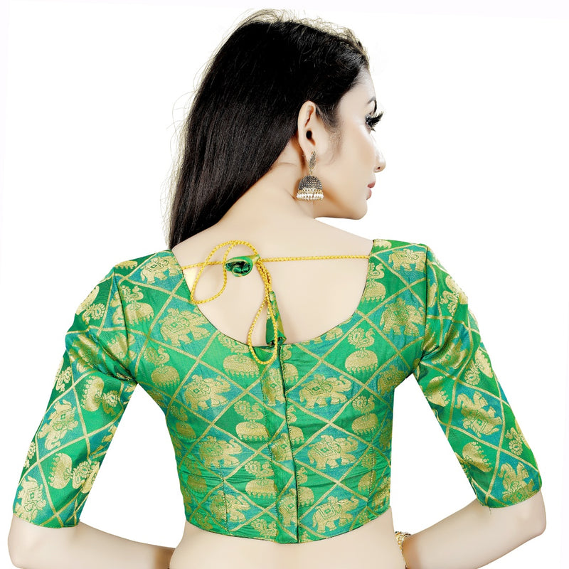 Women's Brocade, Inner-Cotton Full Stitched Padded Blouse (Green)