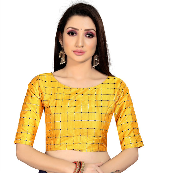 Women's Brocade, Inner-Cotton Full Stitched Padded Blouse (Yellow )