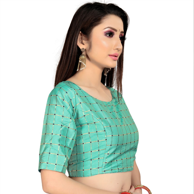 Women's Brocade, Inner-Cotton Full Stitched Padded Blouse (Skyblue )