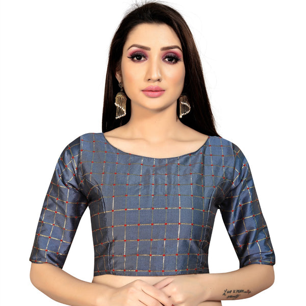 Women's Brocade, Inner-Cotton Full Stitched Padded Blouse (Dark Grey )
