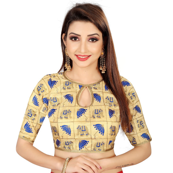 Women's Satin Silk, Inner-Cotton Full Stitched Padded Blouse (Chiku Blue)