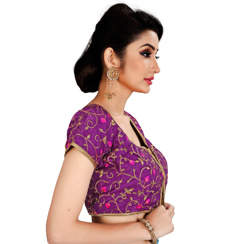 Women's Satin Silk, Inner-Cotton Full Stitched Padded Blouse (Wine)