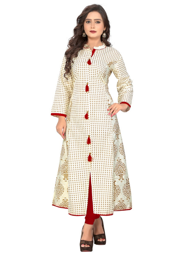 Women's Cotton Print Kurti (White)
