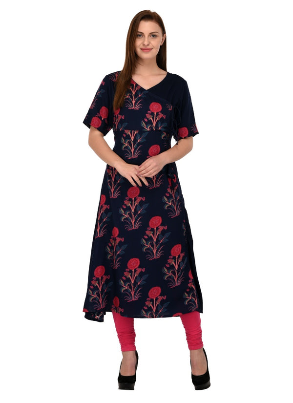 Women's Rayon Print Kurti (Dark Blue)