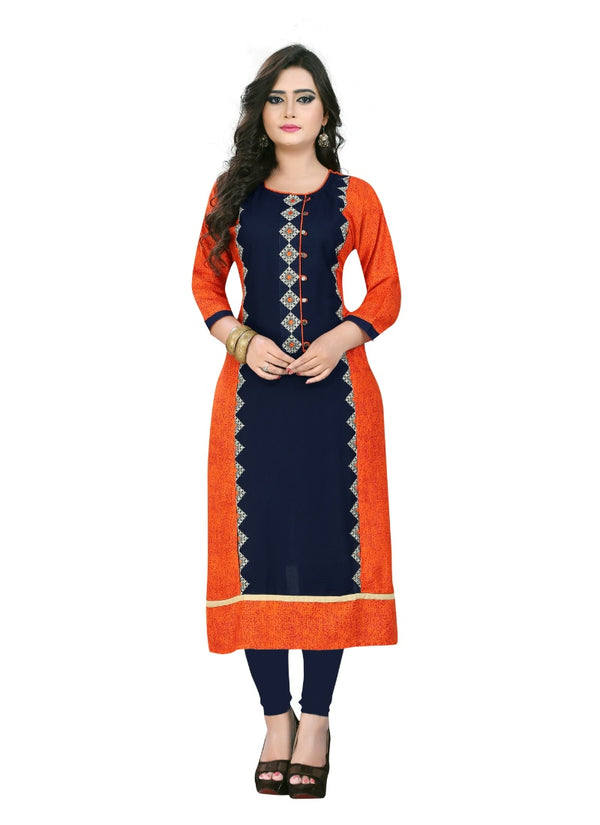 Women's Rayon Printed and Embroidered  Kurti (Dark Blue and Orange)