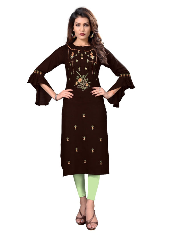 Women's Slub Rayon Embroidered Kurti (Brown)