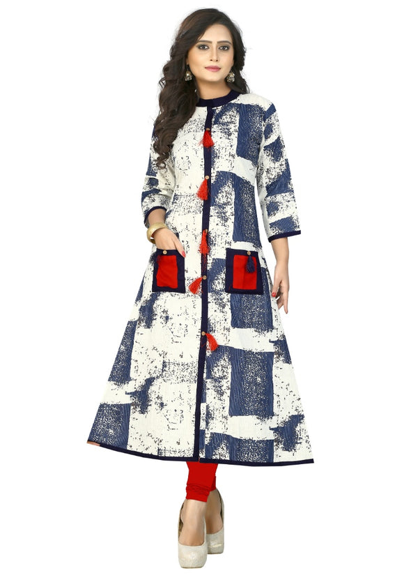 Women's Rayon and Cotton Print Kurti (Blue )