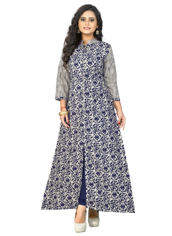 Women's Cotton Print Kurti (Blue )