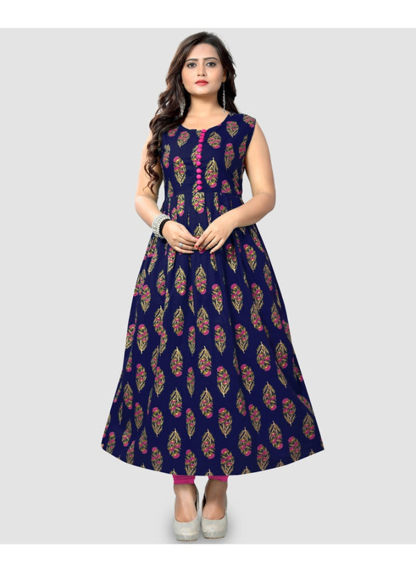 Women's Cotton Printed Kurti (Dark Blue)