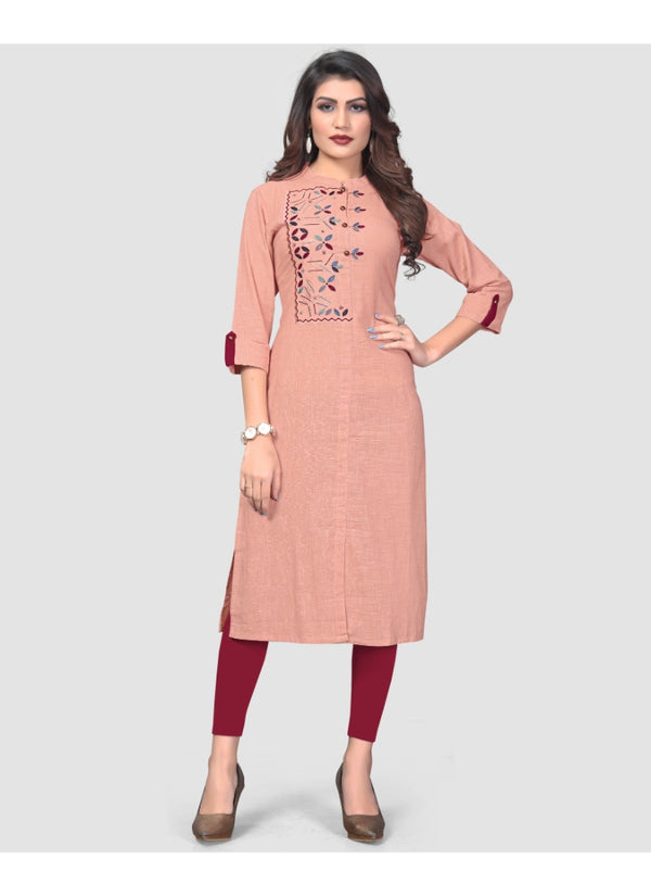 Women's Flex Cotton Embroidered Kurti (Peach)
