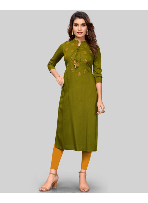 Women's Rayon Embroidered Kurti (Green)