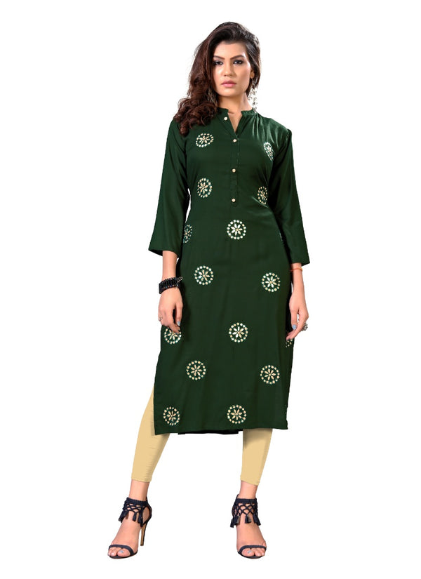 Women's Rayon Gota Patti Work Kurti (Green)