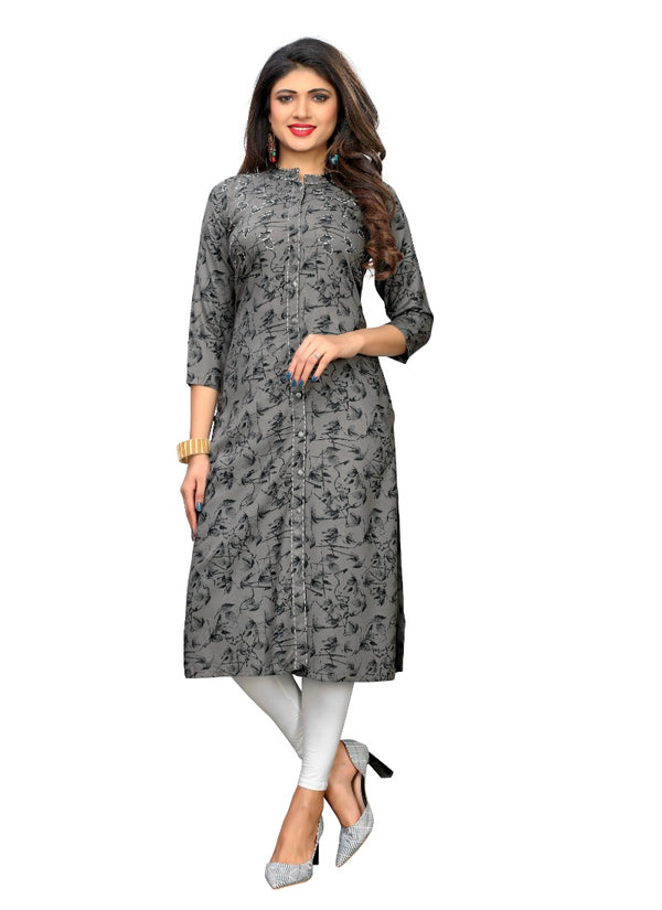 Women's Rayon Printed and Katha work Kurti (Grey)
