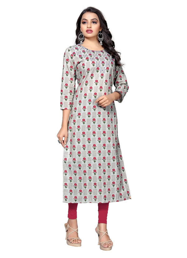 Women's Cotton Hand WorK Kurti (Red)