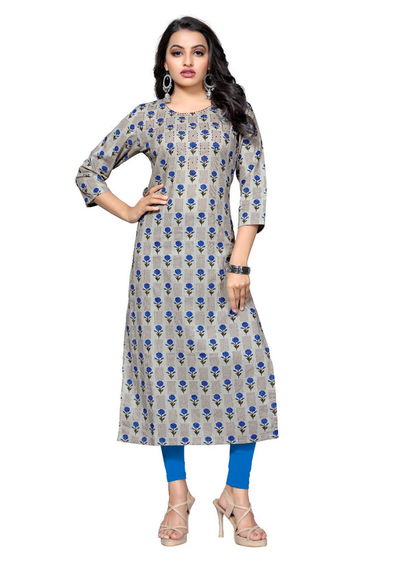 Women's Cotton Hand WorK Kurti (Blue)