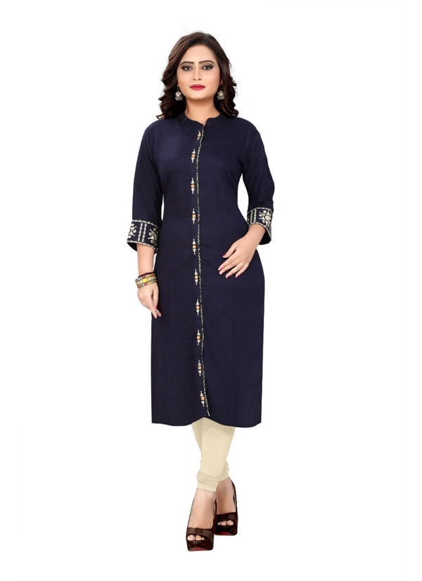 Women's Rayon Embroidered Kurti (Dark Blue)